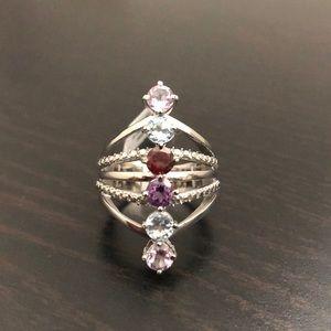 Gemstone Silver Tone Ring